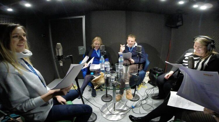 Mobile recording studio records pharmaceutical company's podcast